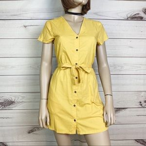 RVCA Landed Button Up Dress Yellow Size Small